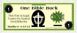 Bible Bucks Classroom Incentive For Good Behavior